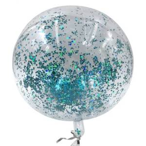 PVC Balloon with sky blue glitter confetti