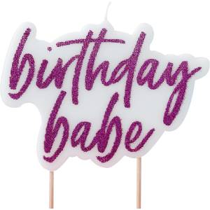 Good Vibes - Hot Pink Glitter Birthday Babe Candle