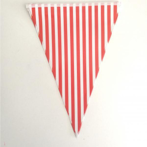 Red Striped Paper Bunting Small