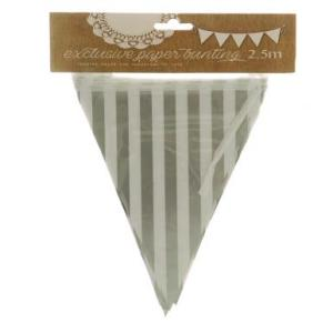 Silver Striped Paper Bunting Small