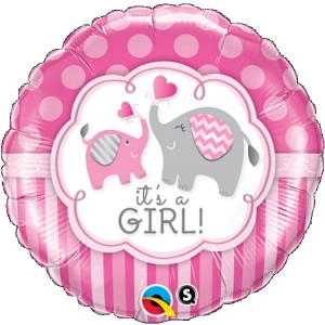 Little Ellie Pink Round Foil Balloon 18 Inch