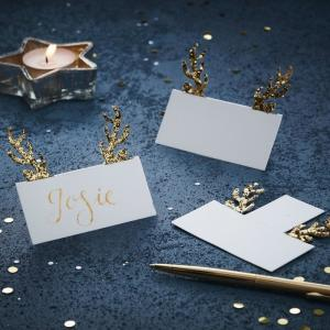 Gold Glitter Antler Place Cards (10)