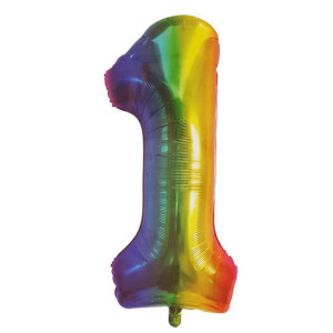 Rainbow Metallic Foil Balloon Number 1 (106cm)