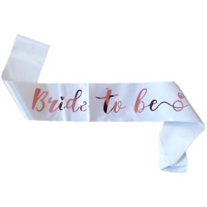 Bride to Be Sash White Rose Gold Detail
