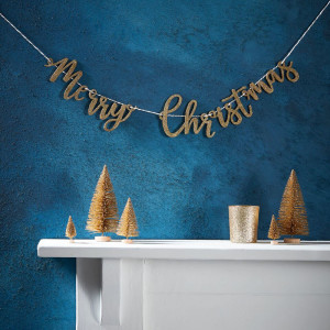 Merry Christmas Gold Glitter Bunting
