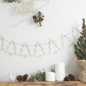 Rustic Christmas - Wooden Tree Bunting
