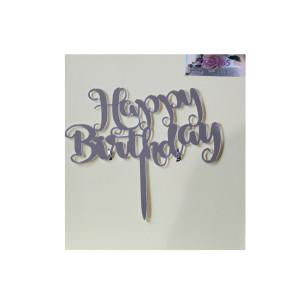 Silver Acrylic Happy Birthday Cake Topper