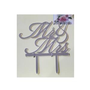 Silver Acrylic Mr & Mrs Cake Topper