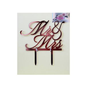 Rose Gold Acrylic Mr & Mrs Cake Topper