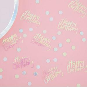 Pastel Party Happy Birthday Iridescent Table Confetti