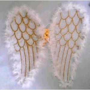 White Feathered Angel Wings with Glitter Detail (40cm)