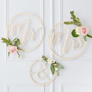 Gold Wedding Mr and Mrs Hoop Decoration