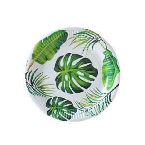 Tropical Jungle Leaves Paper Plates Small (10)