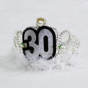 Silver Furry Tiara with Pearls 30th