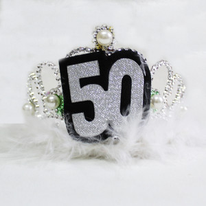 Silver Furry Tiara with Pearls 50th