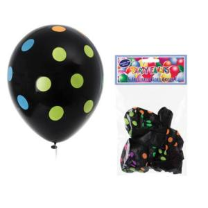 Neon Polka Dots on Black  Assorted (6)