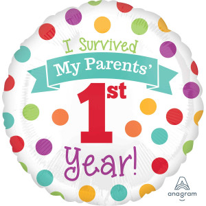 1st Birthday Survived my parents Foil Balloon 18 inch