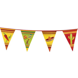 Mexican Fiesta Plastic Flag Bunting