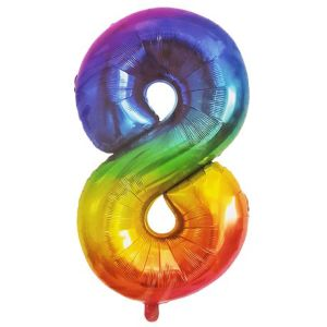 Rainbow Metallic Foil Balloon Number 8 (106cm)