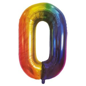 Rainbow Metallic Foil Balloon Number 0 (106cm)