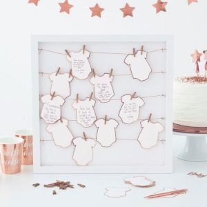 Rose Gold Baby Shower Babygrow Guest Book Frame