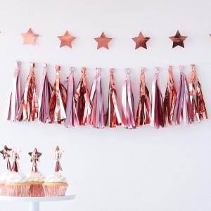 Rose Gold Baby Shower Matte Pink and Rose Gold Tassel Garland
