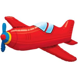 Flying High Red Vintage Plane Super Shape Foil Balloon
