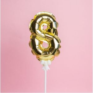 Gold Cake Number Balloon 8 (5 inch)