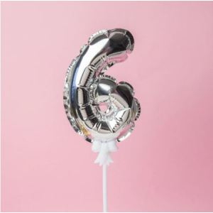 Silver Cake Number Balloon 6 (5 inch)