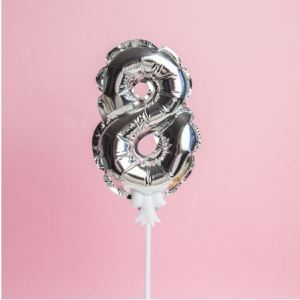 Silver Cake Number Balloon 8 (5 inch)