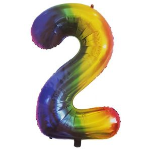 Rainbow Metallic Foil Balloon Number 2 (106cm)