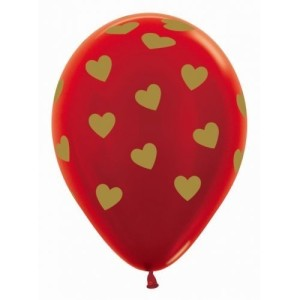Gold Hearts on Red Latex Balloons (5)