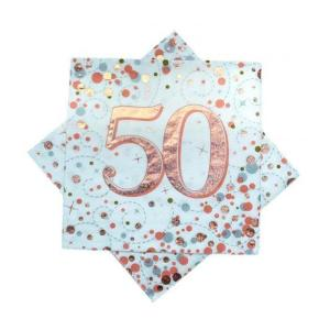 Rose Gold Sparkling Fizz Napkins 50th Birthday