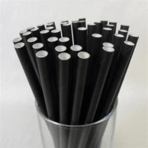Solid Black Party Straws (25)