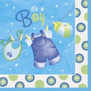 Blue Clothesline Lunch Napkins (16)