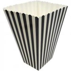 Black Striped Popcorn Boxes (10) - 15cm x 10cm