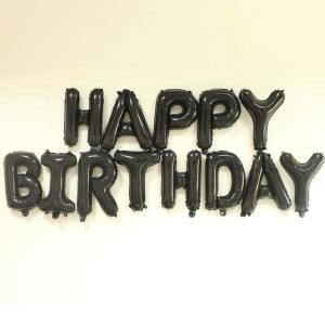 Black Happy Birthday Foil Letter Balloons 17 inch