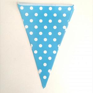 Light Blue Dotted Paper Flag Bunting