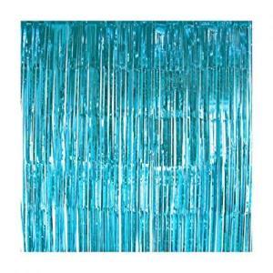 Light Blue Foil Fringe Backdrop
