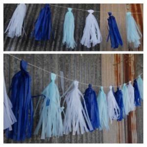 Blue Tissue Paper Garland