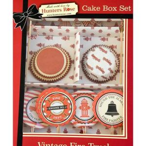 Fire Truck Vintage Cake Box Set