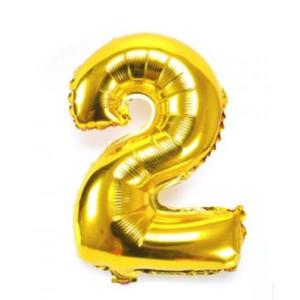 Gold Metallic Foil Balloon Number 2