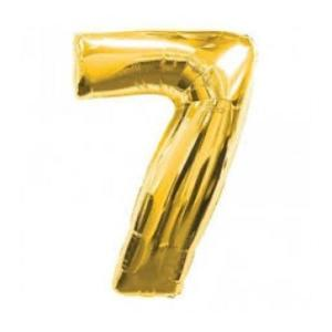 Gold Metallic Foil Balloon Number 7