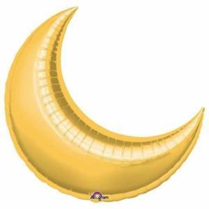 Gold Crescent Moon Foil Balloon 35 inch