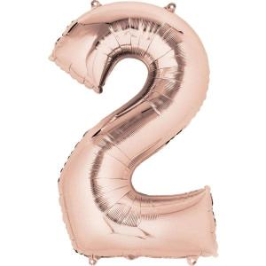 Rose Gold Supershape Foil Balloon Number 2 - 86cm