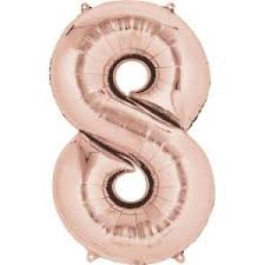 Rose Gold Supershape Foil Balloon Number 8 - 86cm