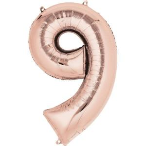 Rose Gold Supershape Foil Balloon Number 9 - 86cm