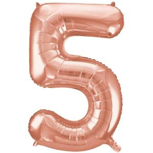 Rose Gold Metallic Foil Balloon Number 5 (32cm)