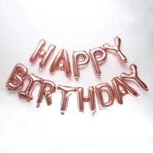Happy Birthday Rose Gold Foil Letter Balloons Kit 16 inch