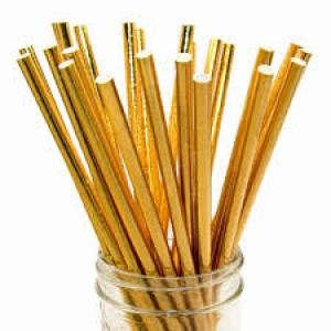 Solid Gold Party Straws (25)